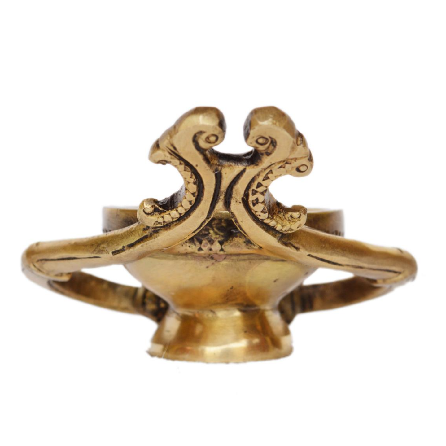 Brass Wick Brass Table Diya Peacock Oil Lotus Puja Home Decor Gift - 2 Inch (BS1161 A)