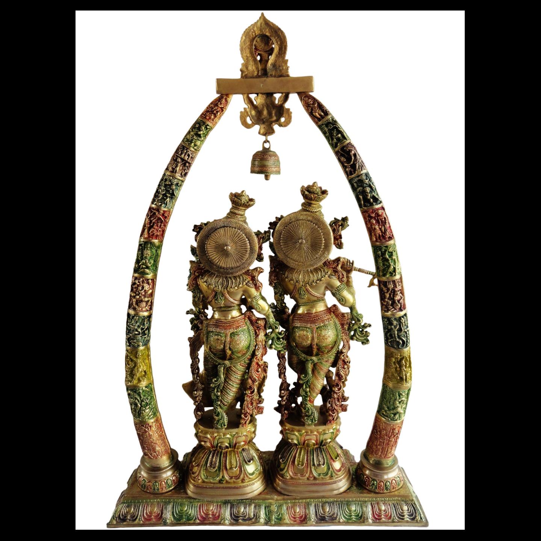 Brass Radha Krishna Darbar In Multicolour Lacquer Finish - 29*8*45 Inch  (BS301)
