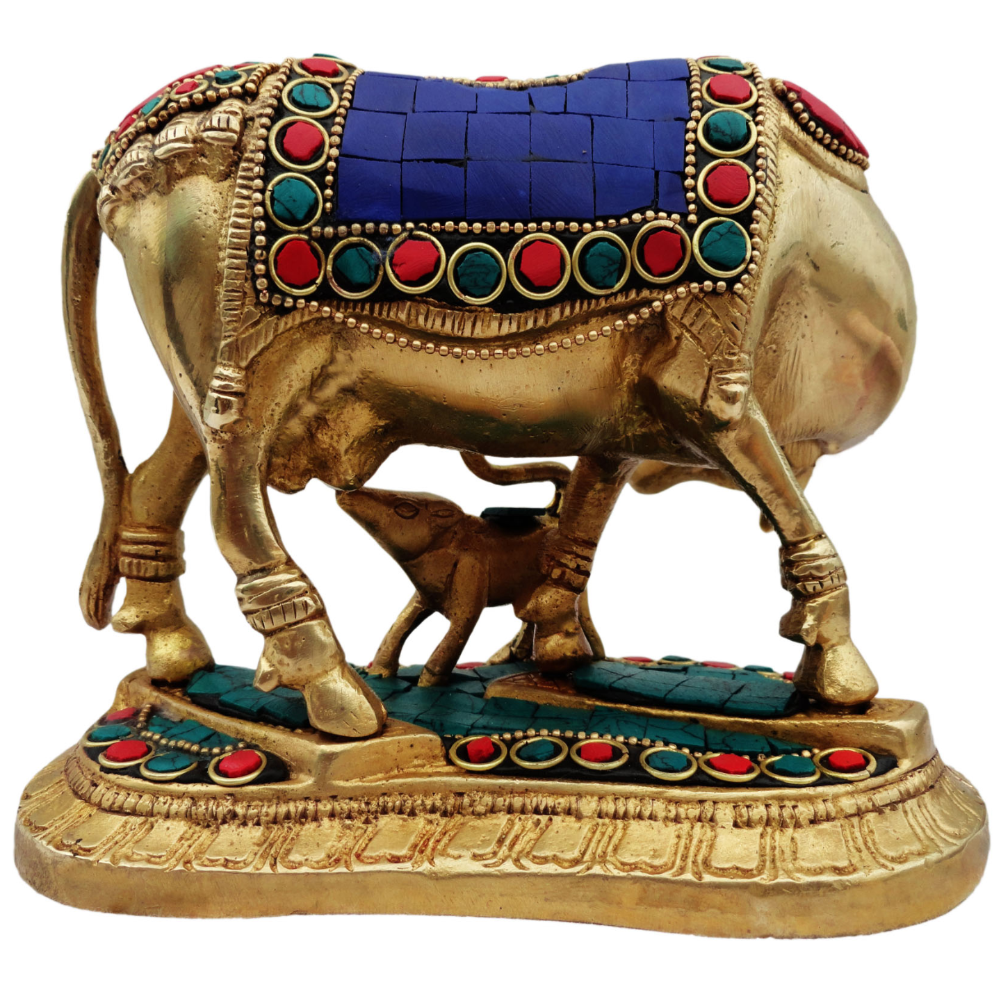 Brass Cow With Calf Gaye Bacdha with Turquoise Coral stone work- 6.5*4*5 Inch  (BS382)