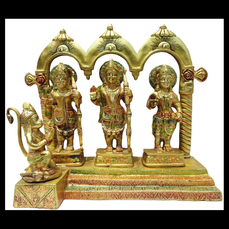 Brass Ram Dharbar Statue Idol Murti in Multicolour lacquer finish- 10*4.8*10 Inch  (BS130)