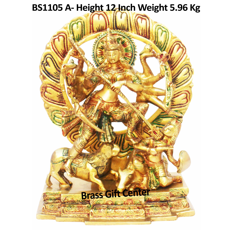Brass Mahishasur Vardhini Statue, Height 12 Inch (BS1105 A)