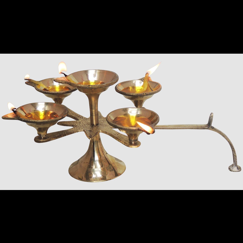 Brass 5 Batti Star Deepak Diya No. 1 - 9.5*9.5*4 inch (F628 C)