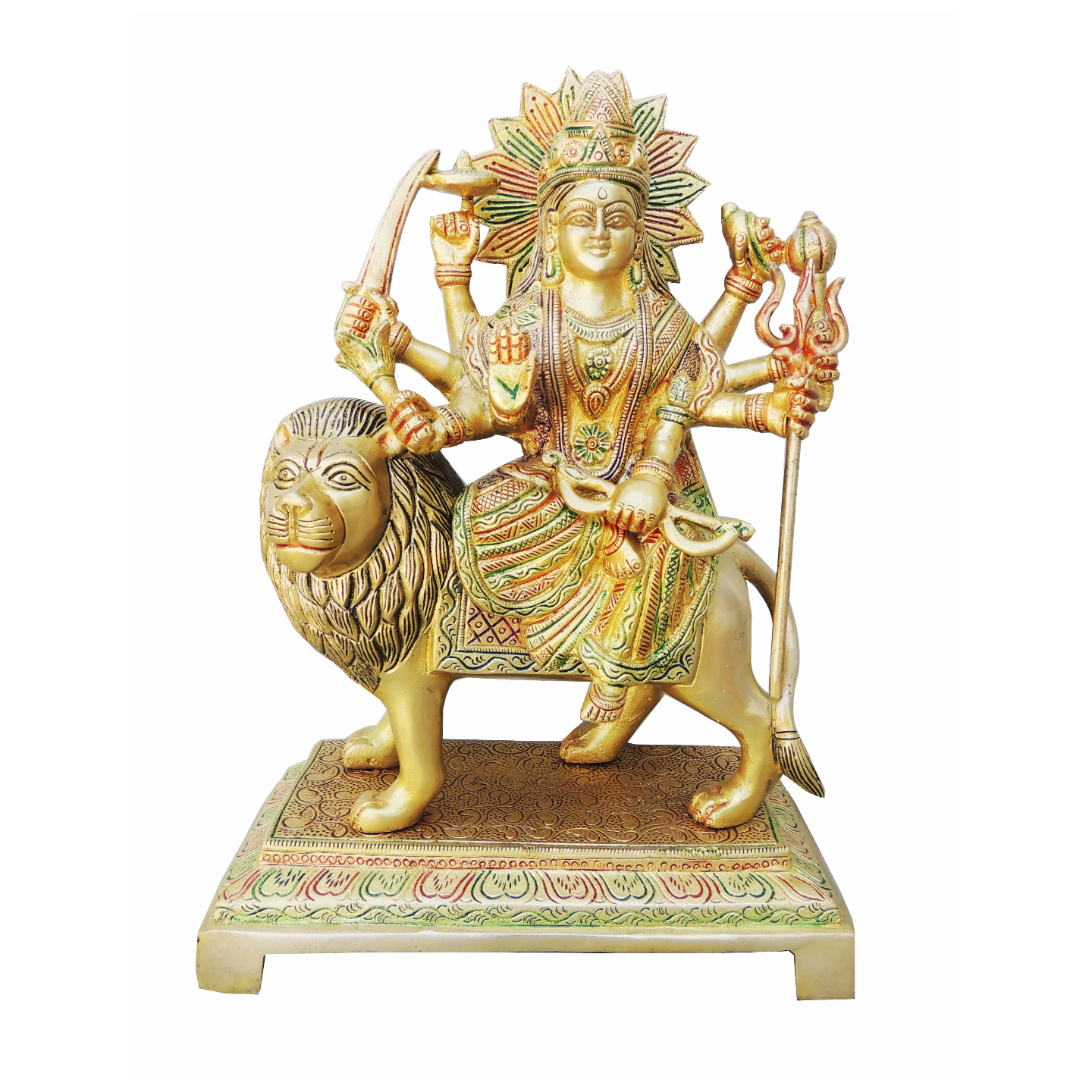 Brass Durga Ji Statue/Murti/Idol With Color Lacquer Finish - 12.5 Inch (BS937 C)