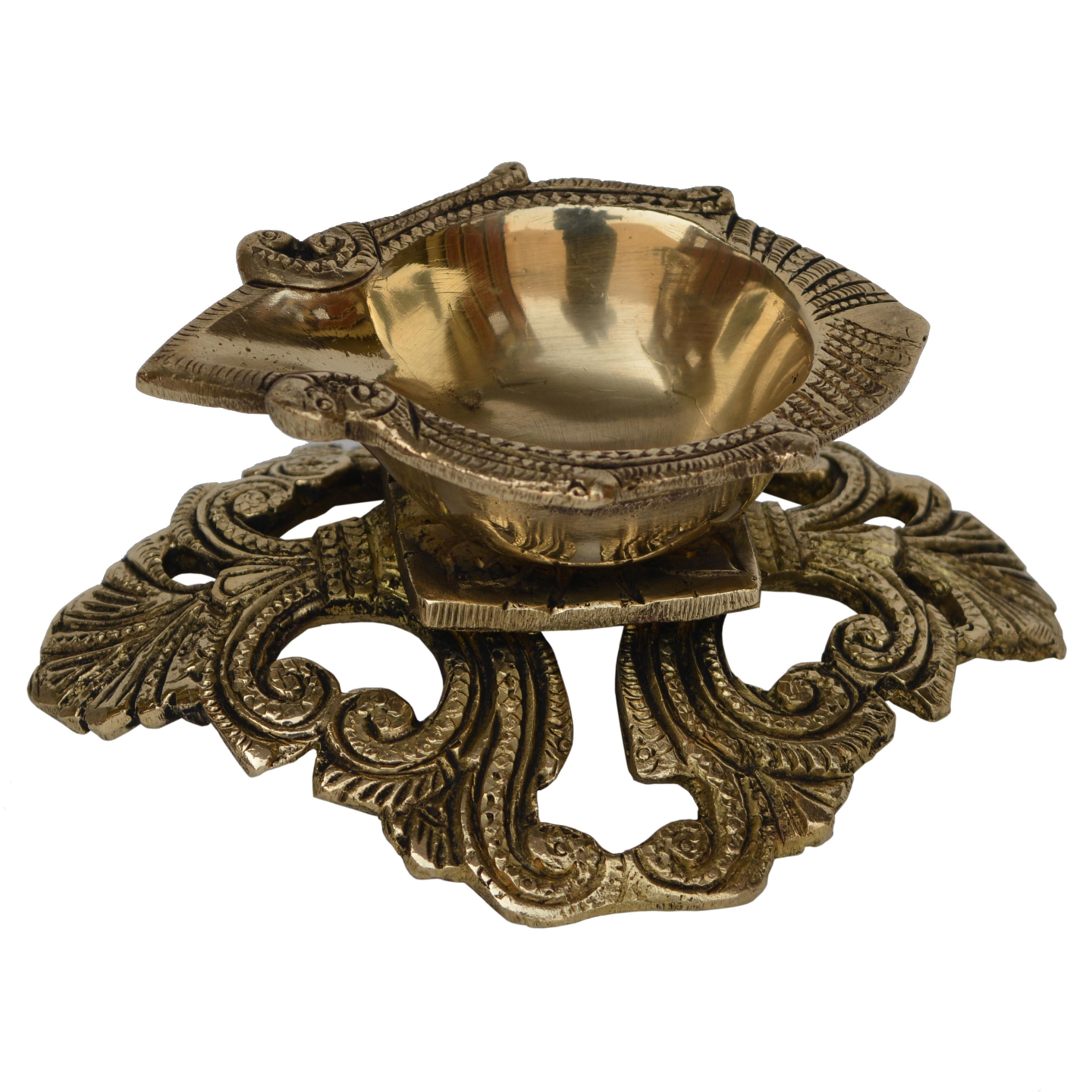 Brass Made hand carved pooja gahr oil lamp with decorative stand