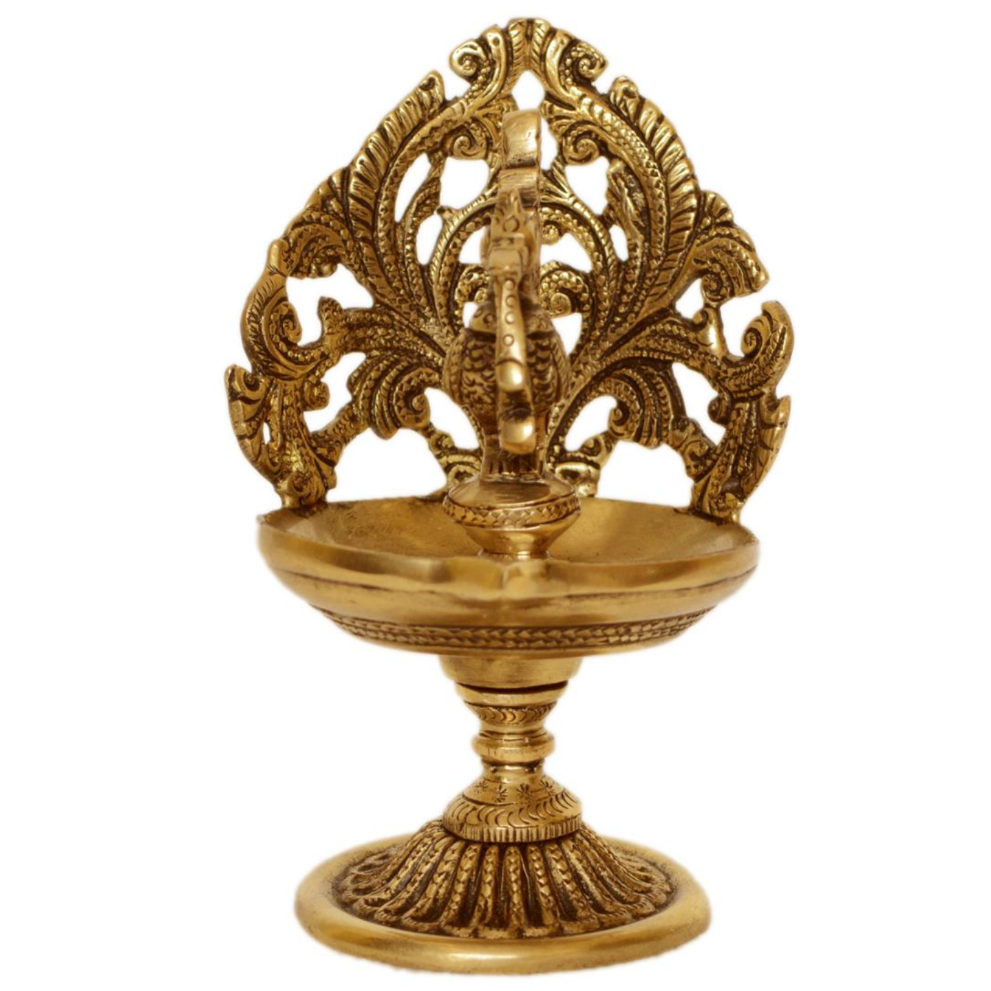 Brass Made Table Diya with Peacock Figure - 6 Inch (BS1196 A)
