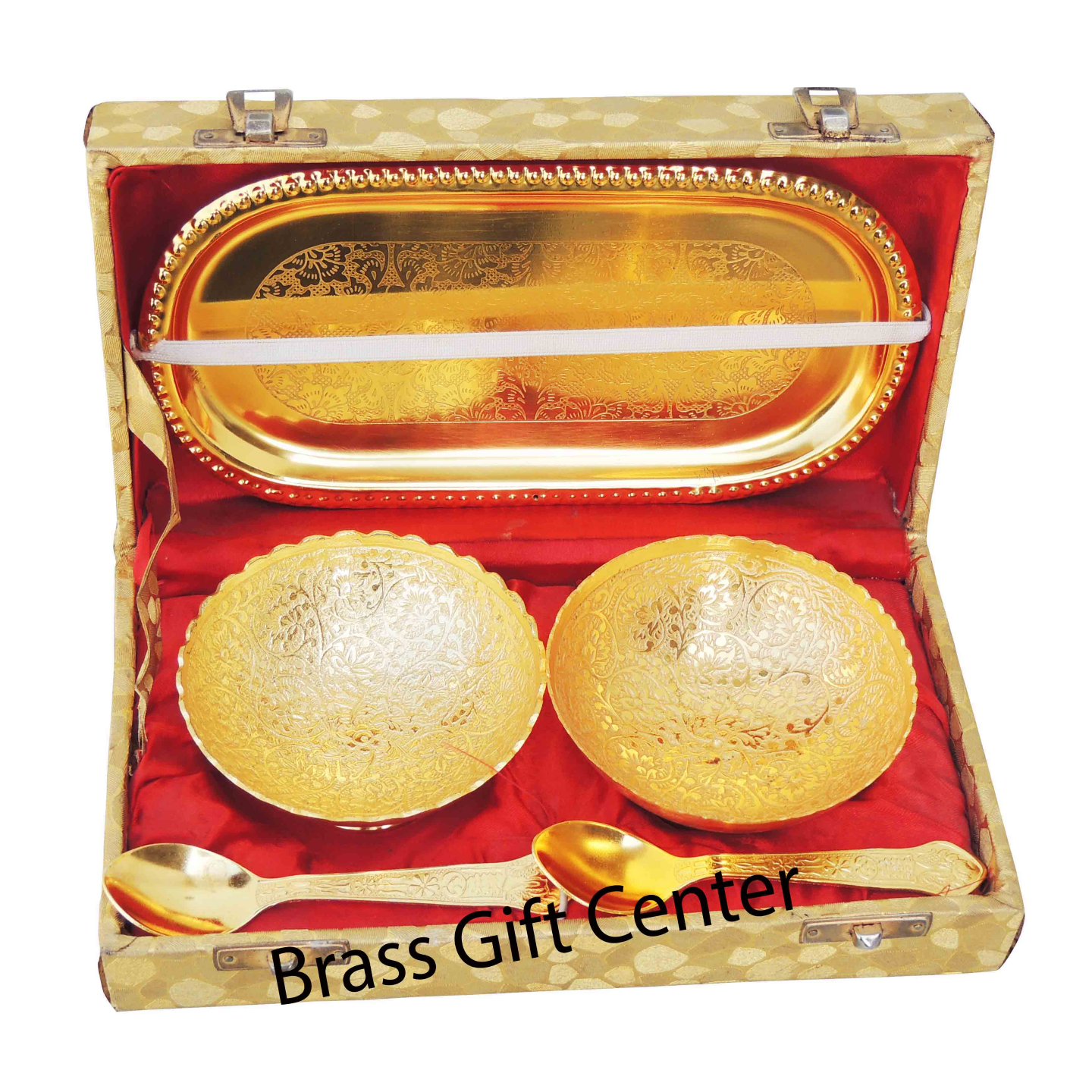 Brass Gold Lacquered Two Bolw And Spoon Set  B263 B