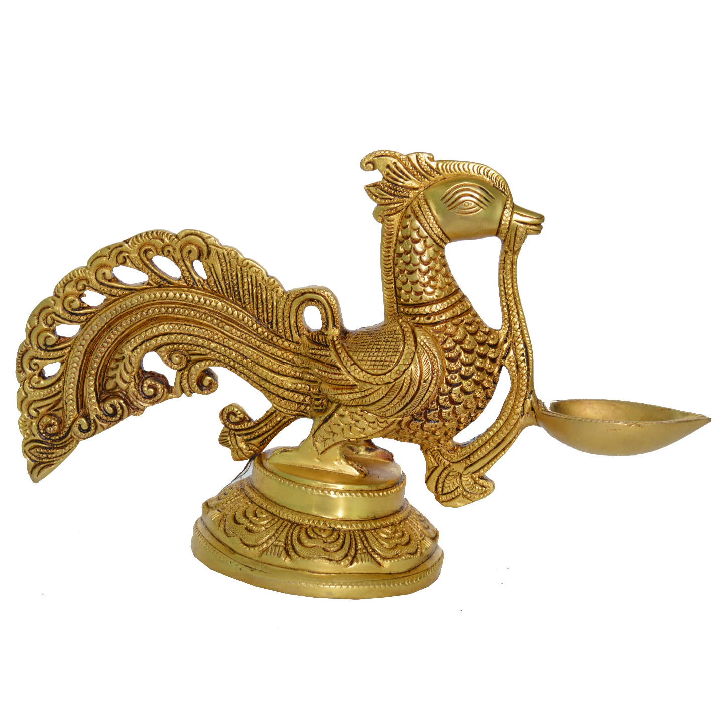 Designer Oil Lamp of Peacock with Superfine Carving - 6.4 Inch (BS1158 A)