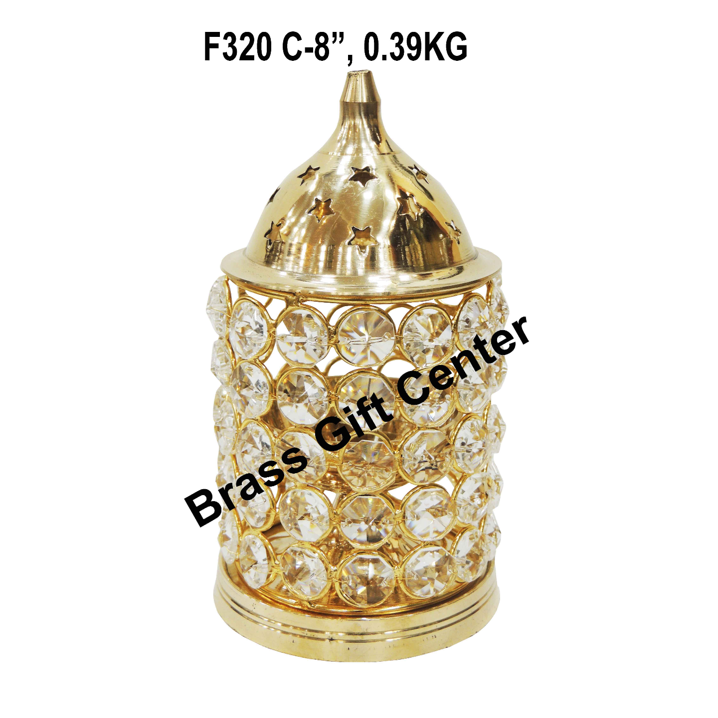 Brass Deepak With Crystal Chimney - 8 inch F320 C