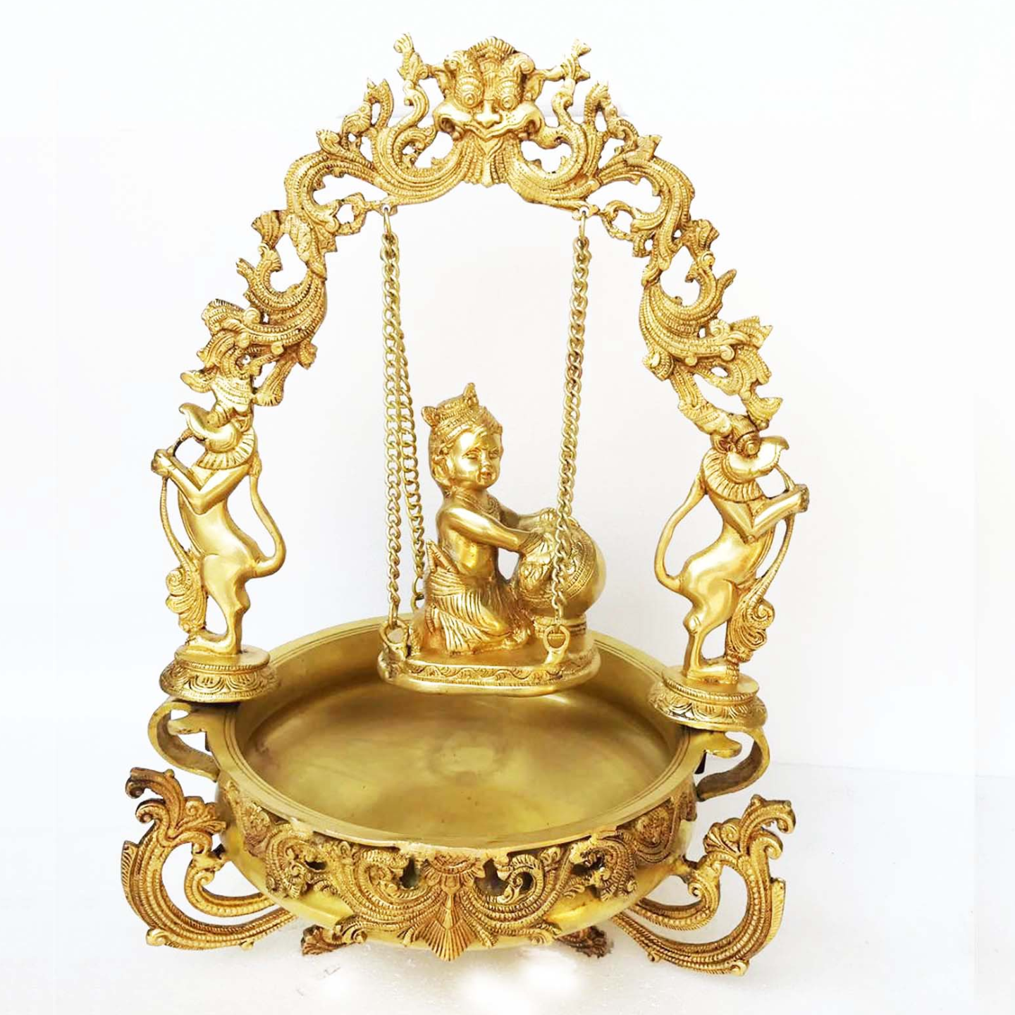Urli with decoration Brass Made Baby Krishna on swing figure Home office table Decor Decorative Urli (BS012 M)