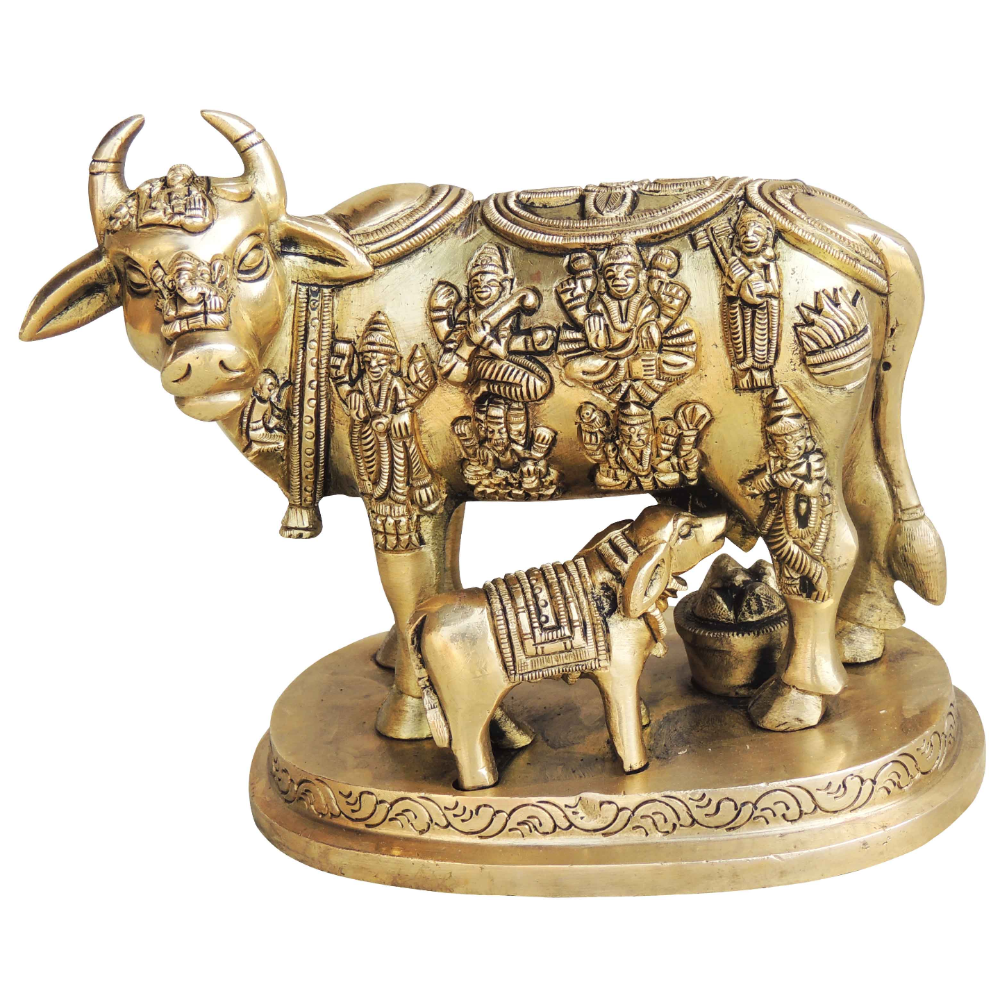 Brass Cow With Calf Gaye Bacdha 63.75.2 Inch  BS984 B