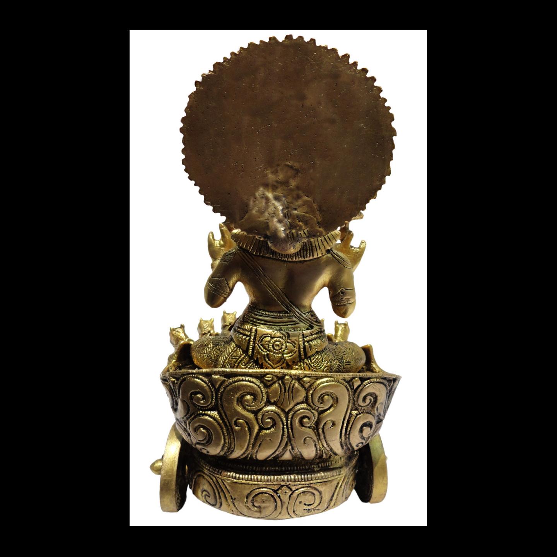 Brass Surya Dev Rath In Antique Finish -11 Inch BS191