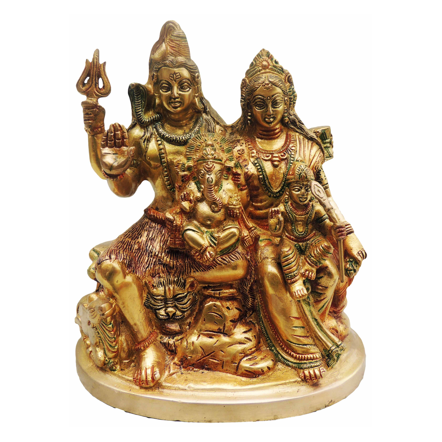 Brass Shiv Parivar (Family) On Same Base - 10 Inch (BS493 A)