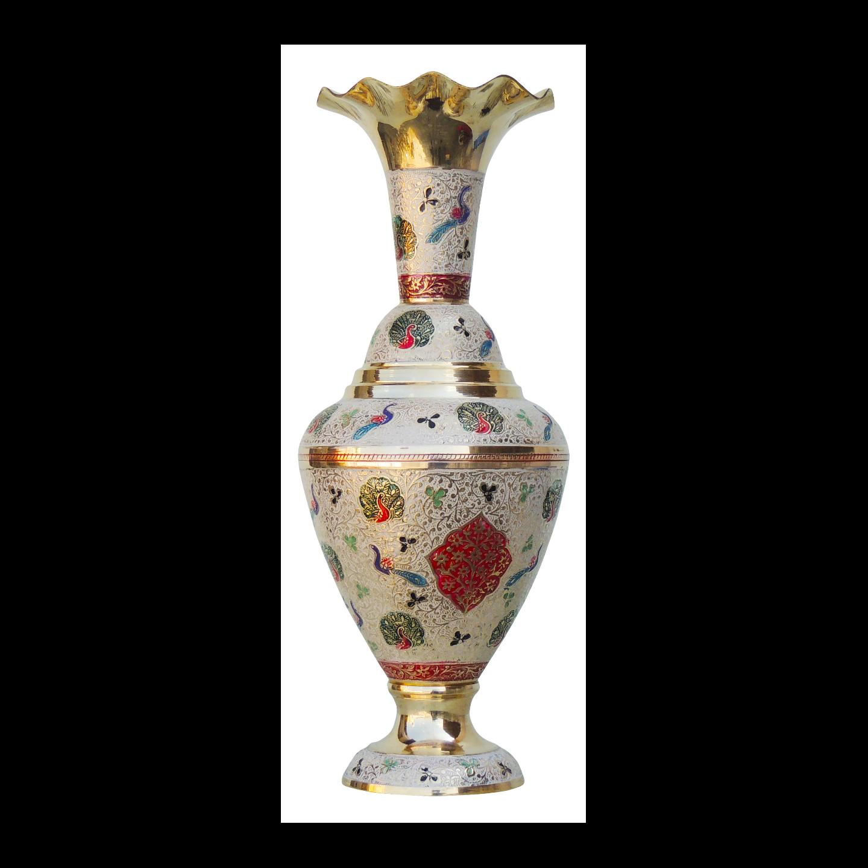 Brass Coloured Flower Vase with handwork - 6*6*15.5 Inch  (F500 A)
