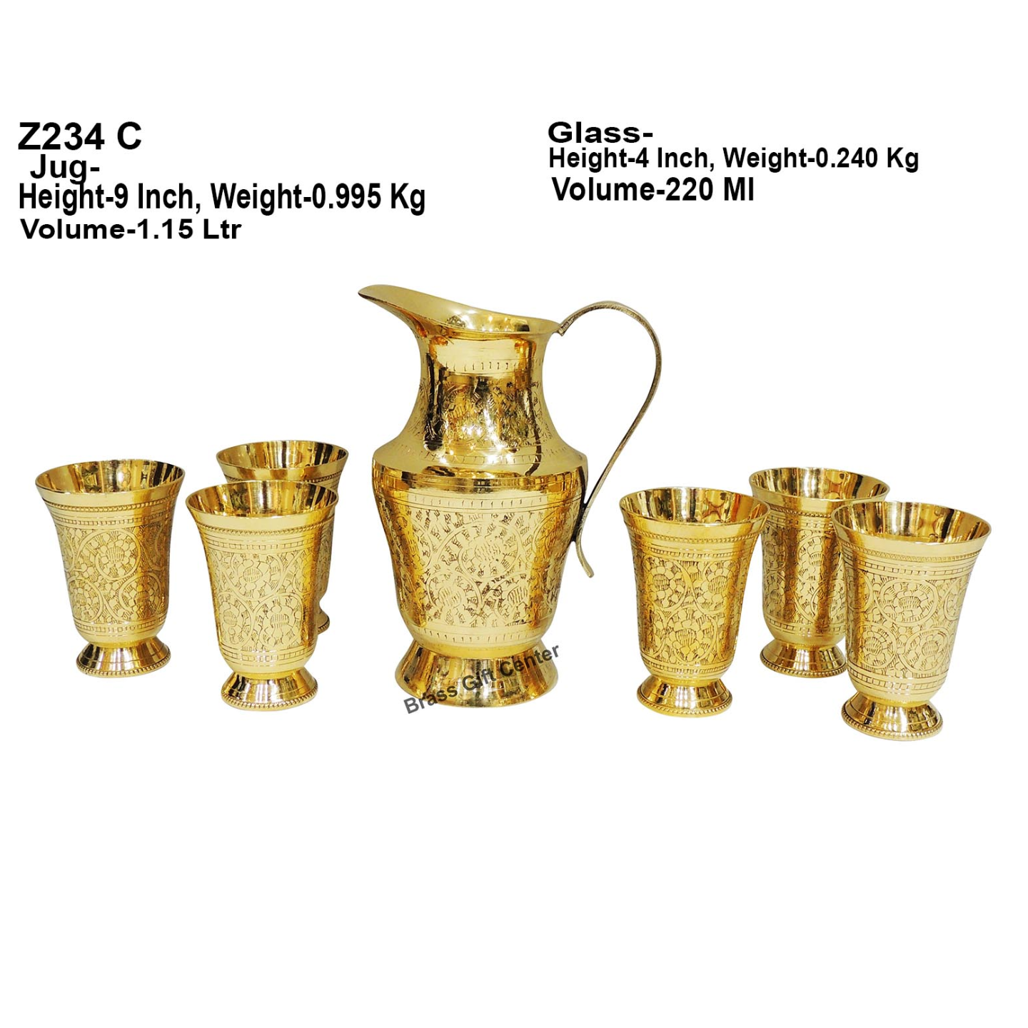 Brass Glass Lemon Set 1 Jug And 6 Glass  Z234 C