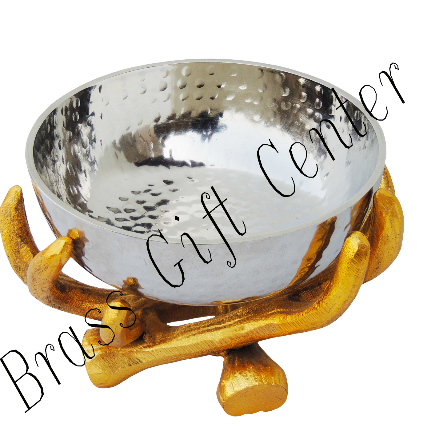 Aluminium  Bowlwith Stand In Gold And Nickel Finish -77 Inch  A31928