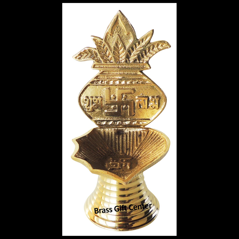 Brass Kalash Deepak With Brass Finish - 3.8 Inch Z465 A