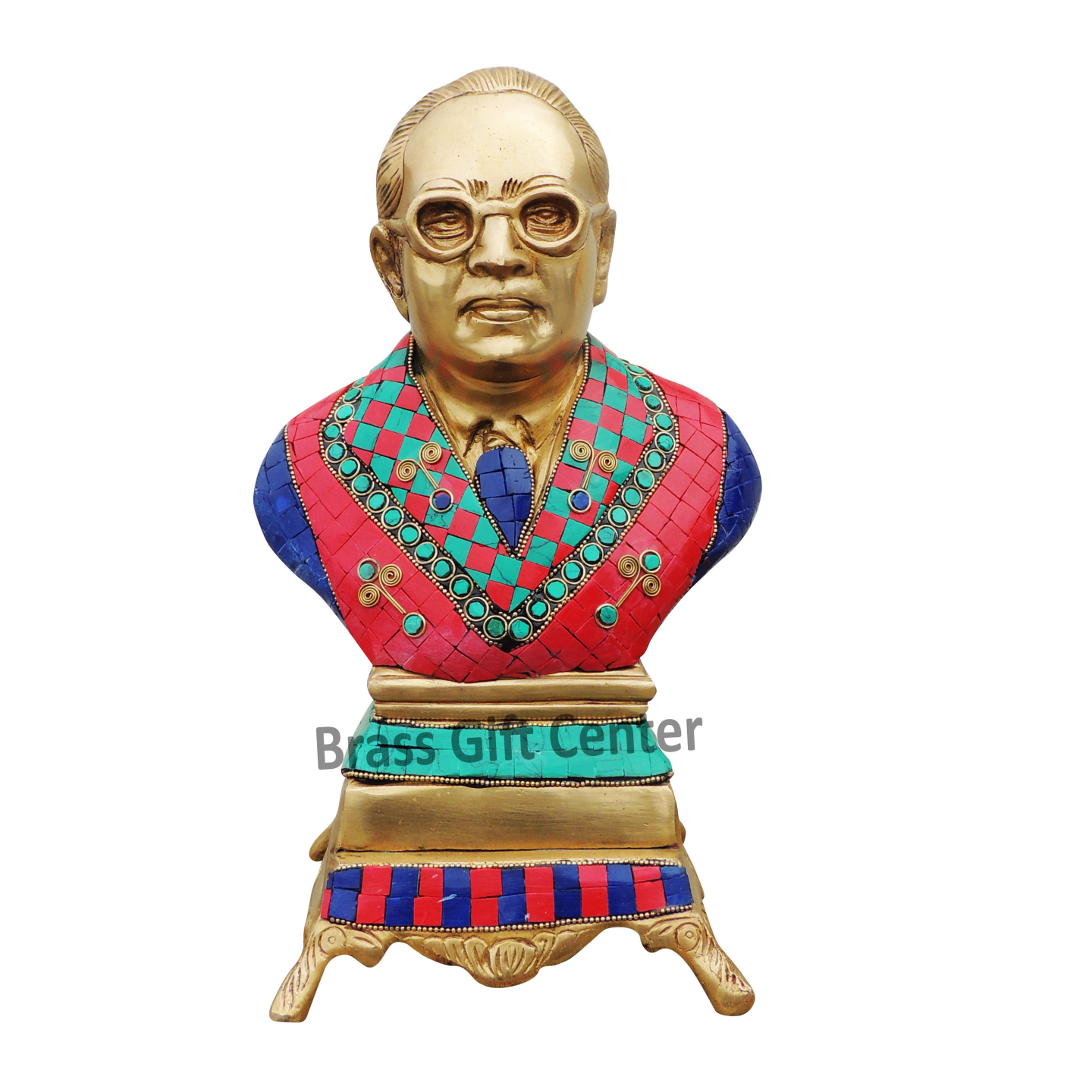 Brass Ambedkar Idol Staute Murti with Turquoise Coral stone work- 7.55.411.8 Inch  BS1010 A