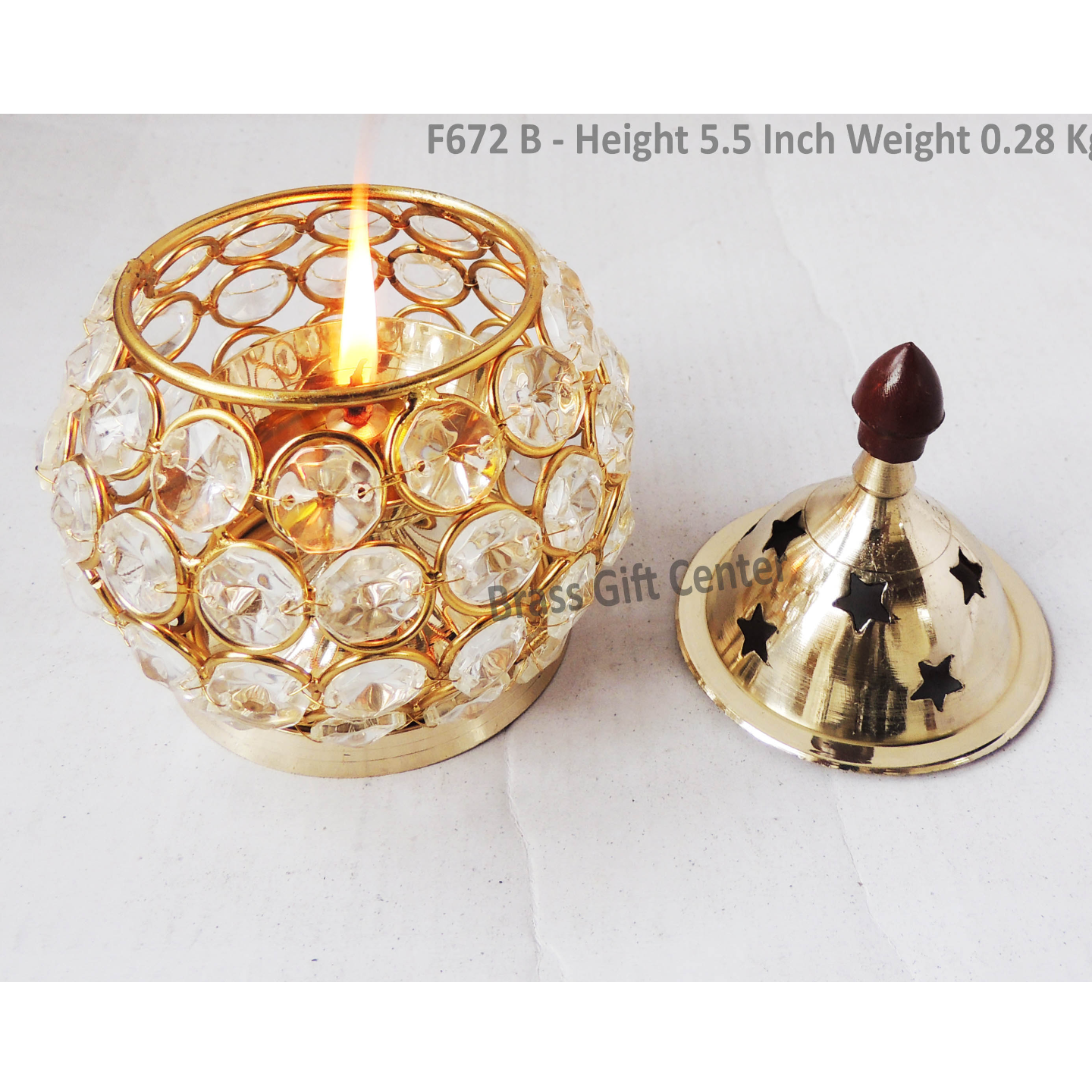 Brass Oil Lamp Deepak With Crystal Beads Height 5.5 Inch F672 B