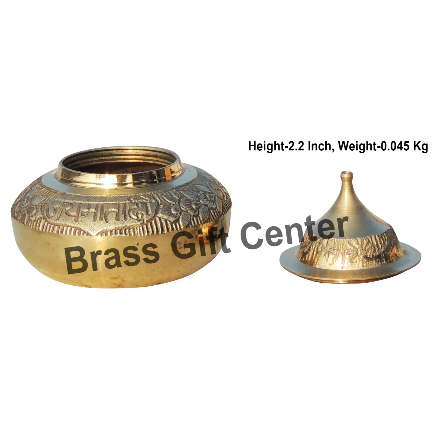 Brass Handicraft Sindoor Dani, Dabbi With Brass Finish - Height 2.2  Inch F416 D