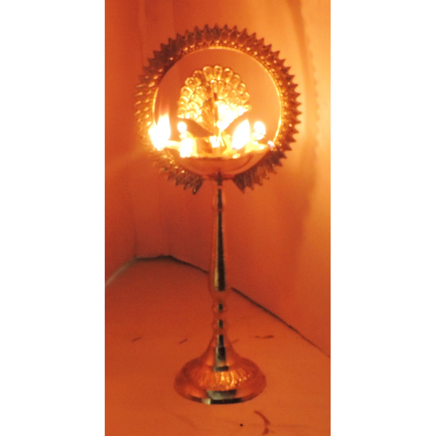 Brass Table Decor Oil Lamp Deepak With Brass Finish - Height 14.5 Inch (F656 G)