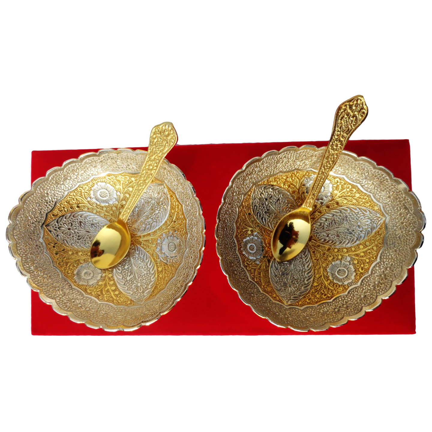 Bowl Set in Gold and Silver Finish with Spoon - 5 inch (B150)