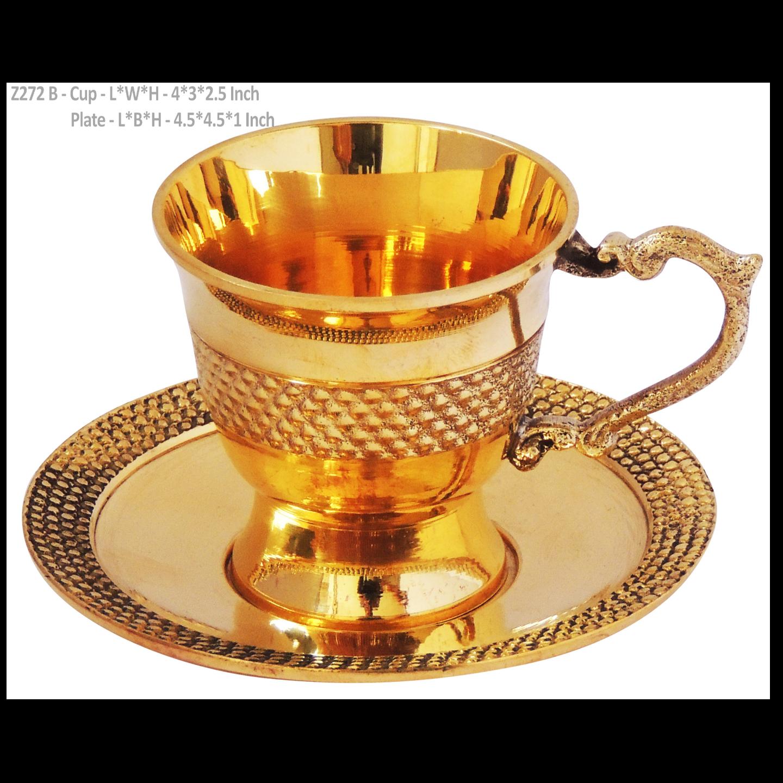 Brass Tea Cup Saucer Set - 110 Ml  (Z272 B)