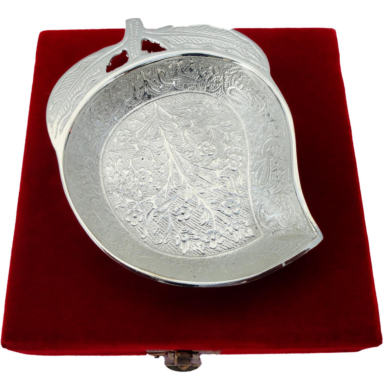 Brass Mango Leaf Platter - 5 Inch (B038)