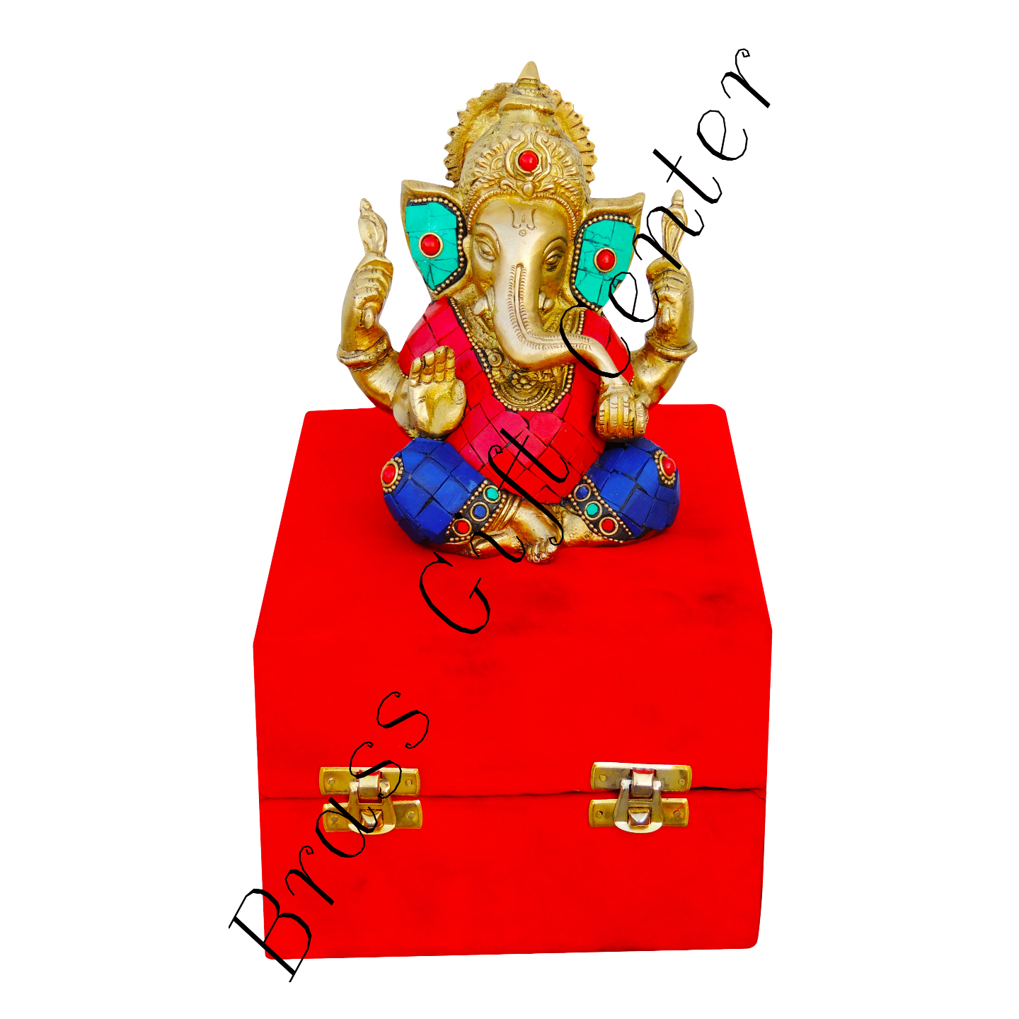 Brass Ganeshji With Turquoise Coral Stone Work Packed In Red Velvet Box - 536 inch  BS656