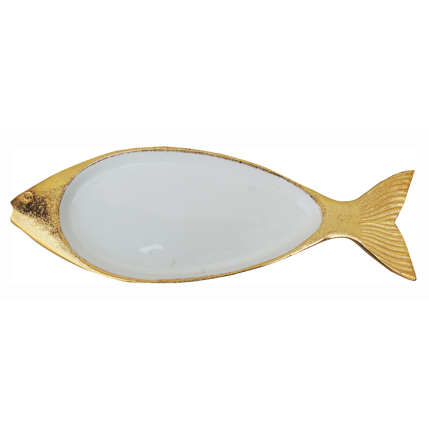 Aluminium Metal Fish Shape Tray Serving Platter Gold and White finish - 165 Inch  A319416