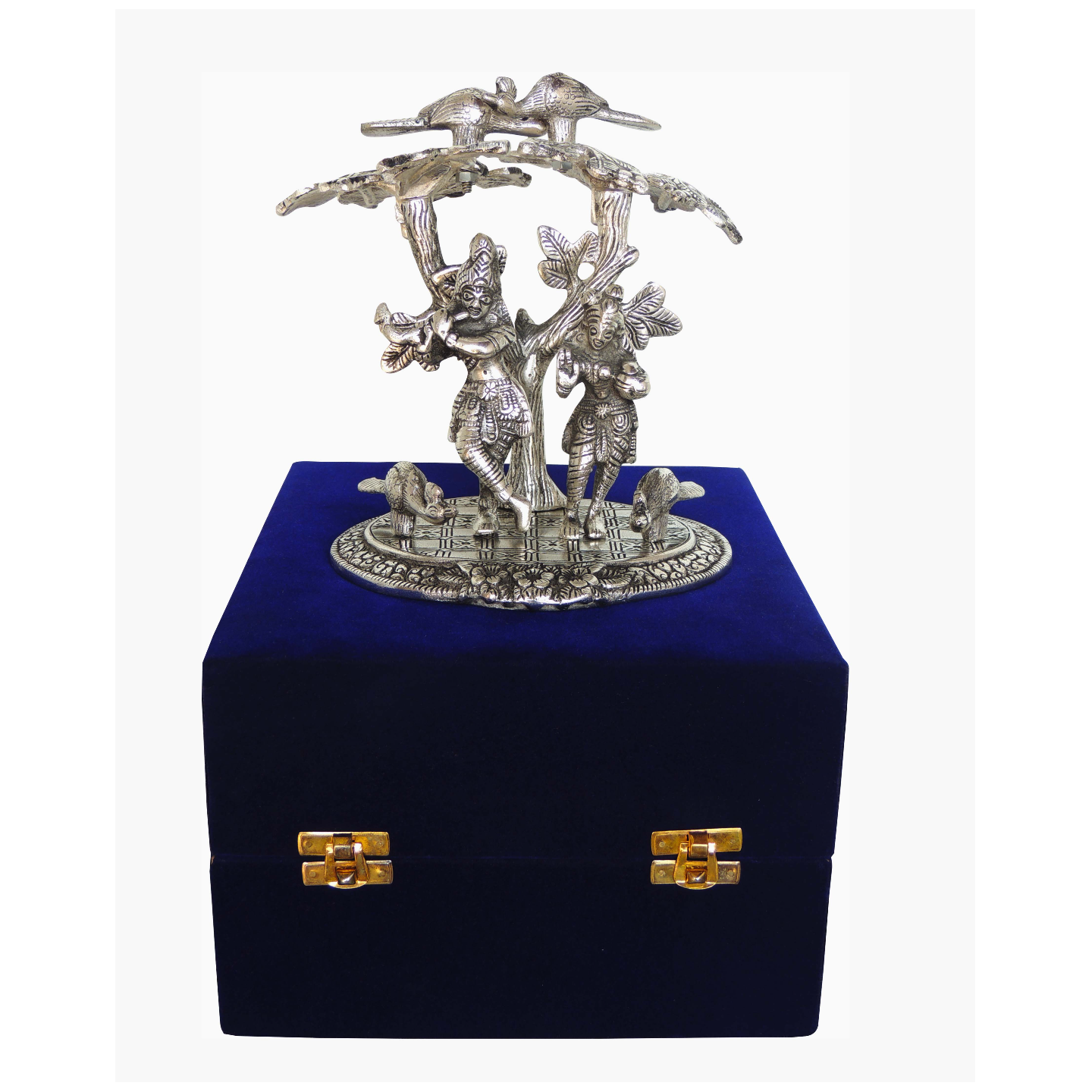 Aluminium Radha Krishna Standing Under Tree In Silver Antique Finish With Blue Velvet Box - 7.5*5.5*7.5 Inch (AS134 S)