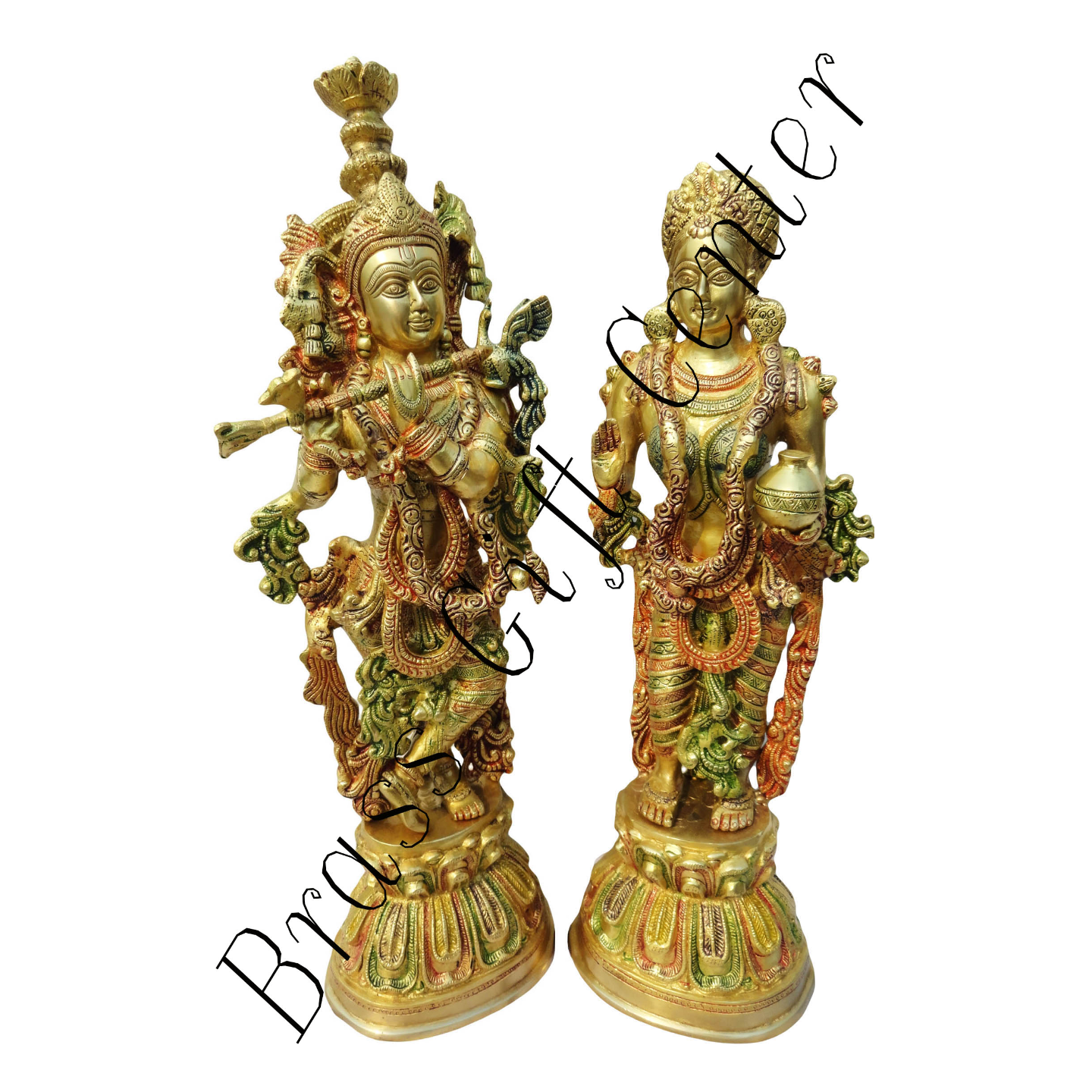 Radha Krishna Pair  with Multicolour Lacquer - 22 inch BS092 A