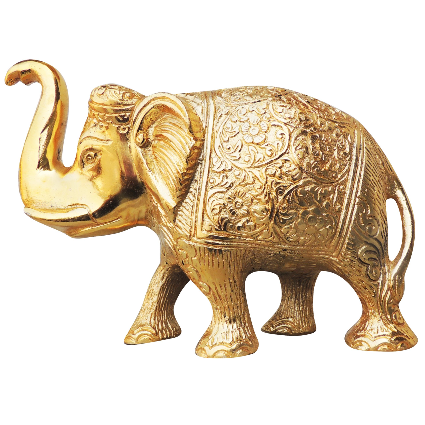 Metallic Elephant Decorative Showpiece In Gold Finish - 735 Inch AS240 C