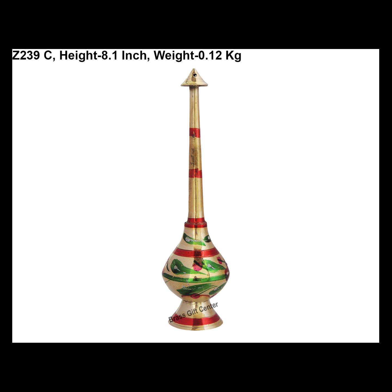 Brass Gulab Pash Bottle For Ganga Jal & Perfume Spray Sprinkler in Mulitcolour-  8.1 Inch  (Z239 C)