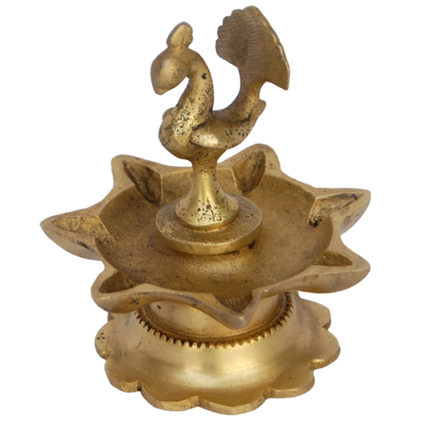 Decorative Diya Or Deepam With Peacock Figure - 3.5 Inch (BS1173 A)