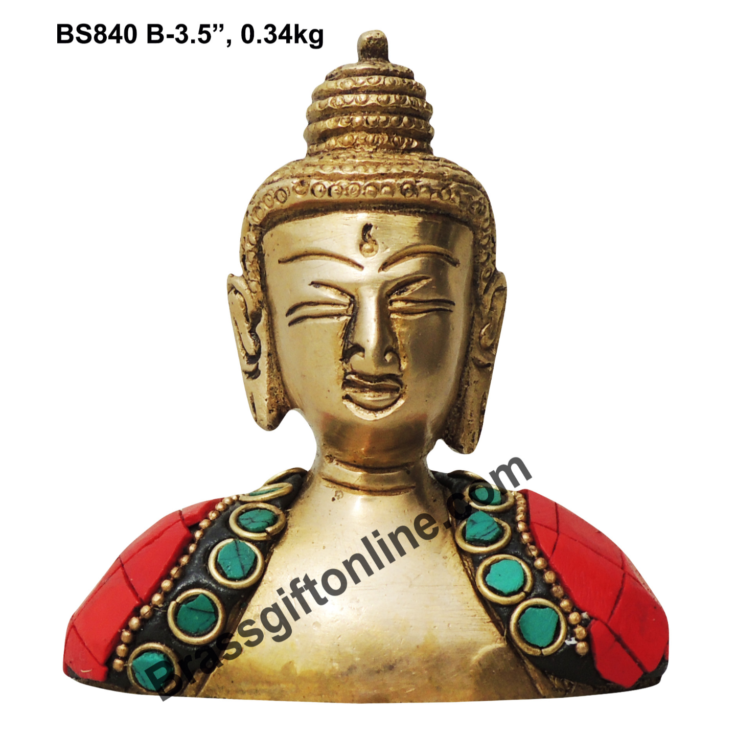 Brass Buddha Head studded with Turquoise Coral stone work - 313.5 Inch  BS840 B