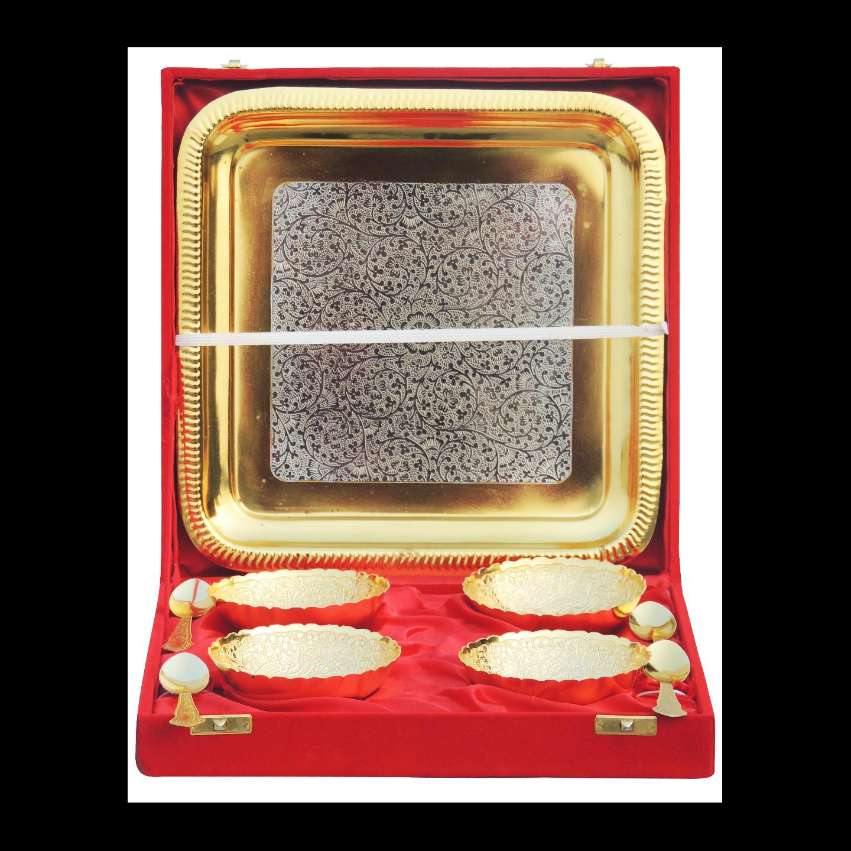 Brass Decorative 4 Pcs. Bowl Set For Diwali Gift In 2 Tone Finish - (B285 D)
