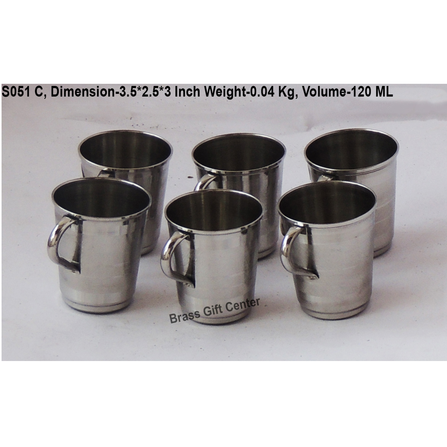 Steel Water Drinking Cup, Set of 6 Pcs. Height 3 Inch (S051 C)