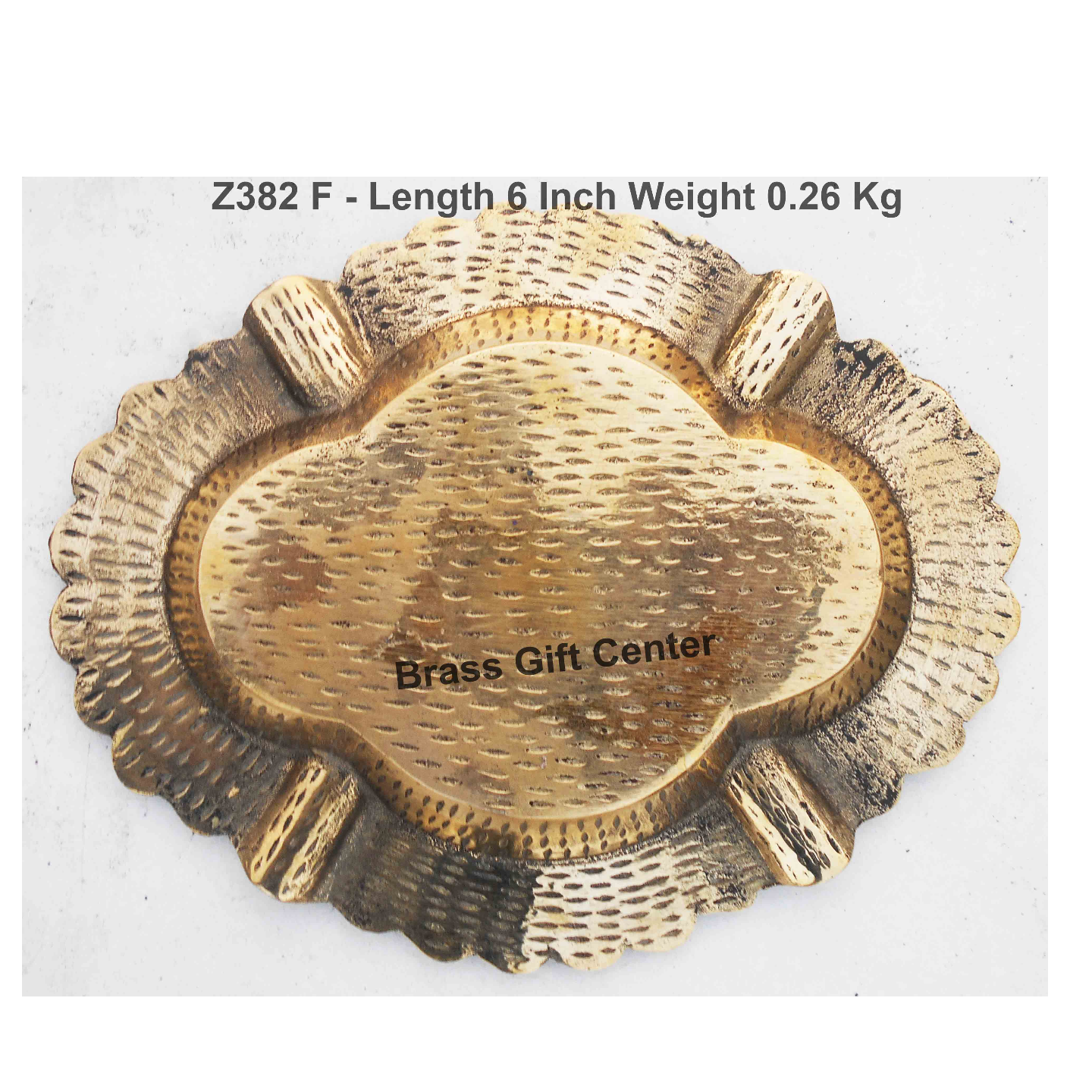 Brass Ash Tray With Multicloured Finsih -  6 Inch (Z382 F)