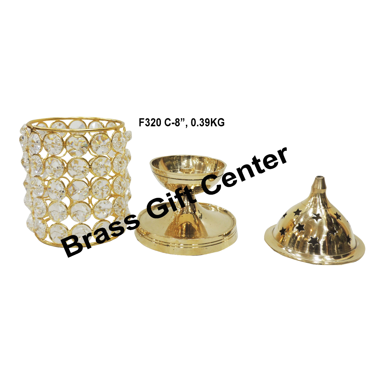 Brass Deepak With Crystal Chimney - 8 inch F320 C