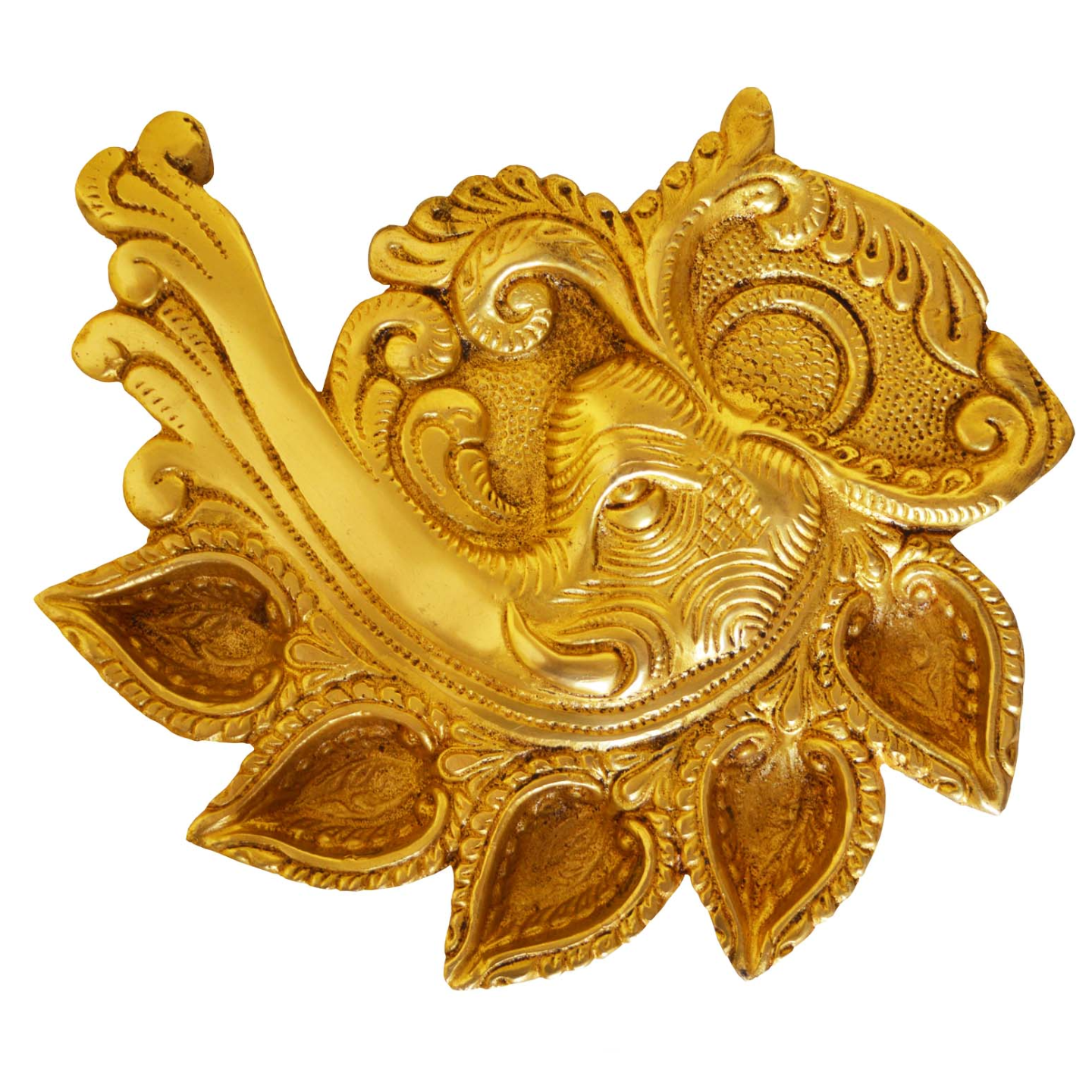 Elephant Face Conch Shape Deepak of Brass - Table diya - Rare showpiece to gift and Religious use - 7 Inch (BS1187 A)