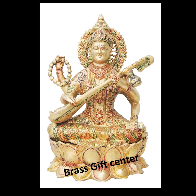 Brass Saraswati Idol Murti Multicolour lacquer finish - 7.86.511 inch  BS034
