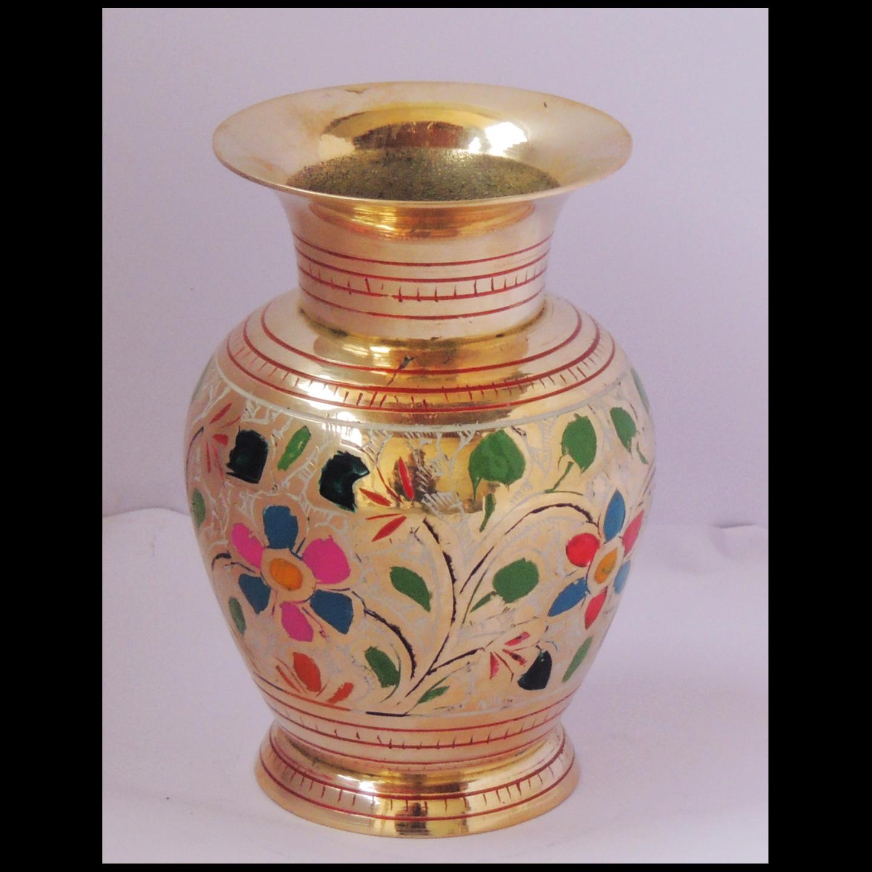 Brass Flower Vase pot with Handwork - 4*4*5.5 Inch  (F661 F)