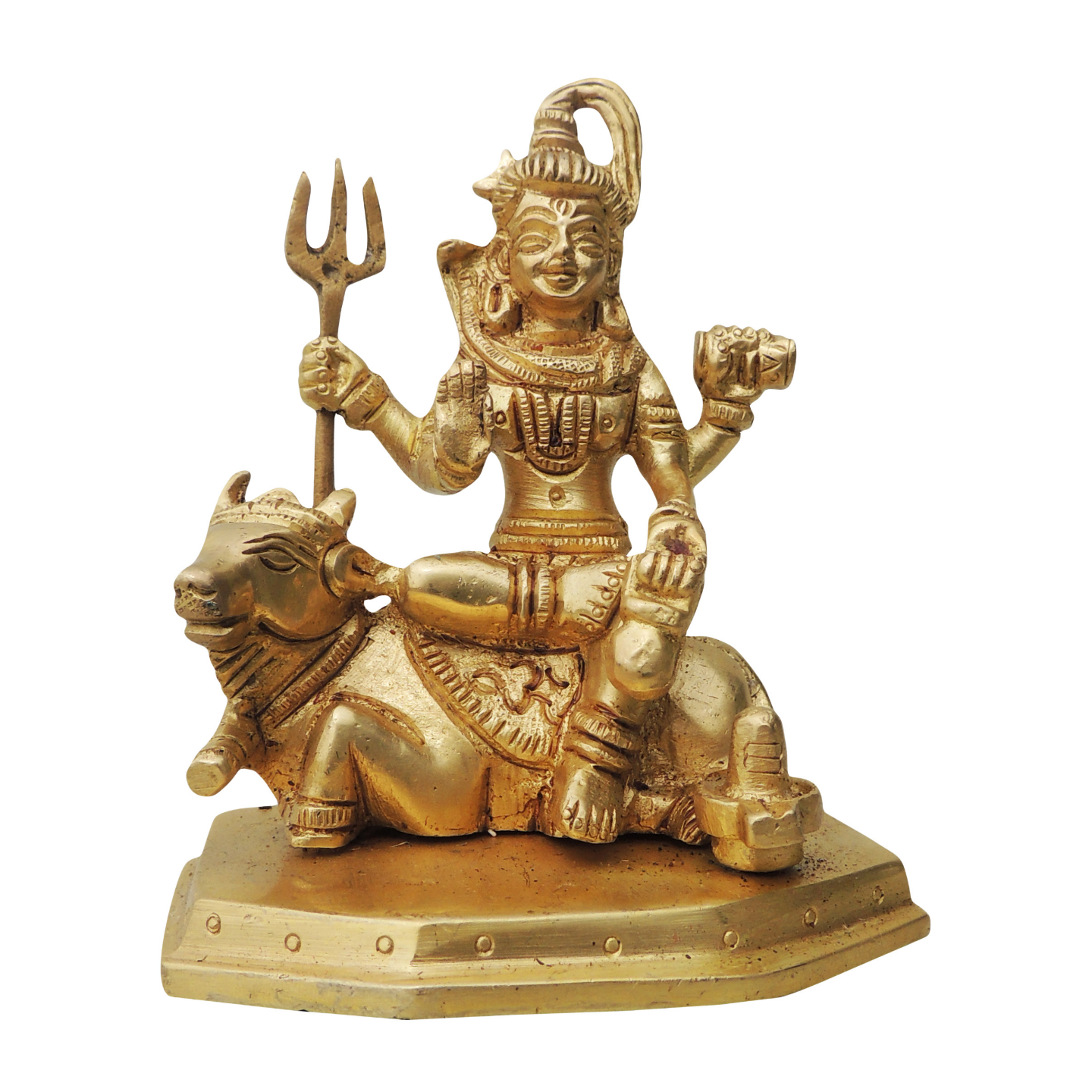 Brass Shivji on Nandi Statue Murti Idol - 3*2*4.5 inch  (BS835 A)