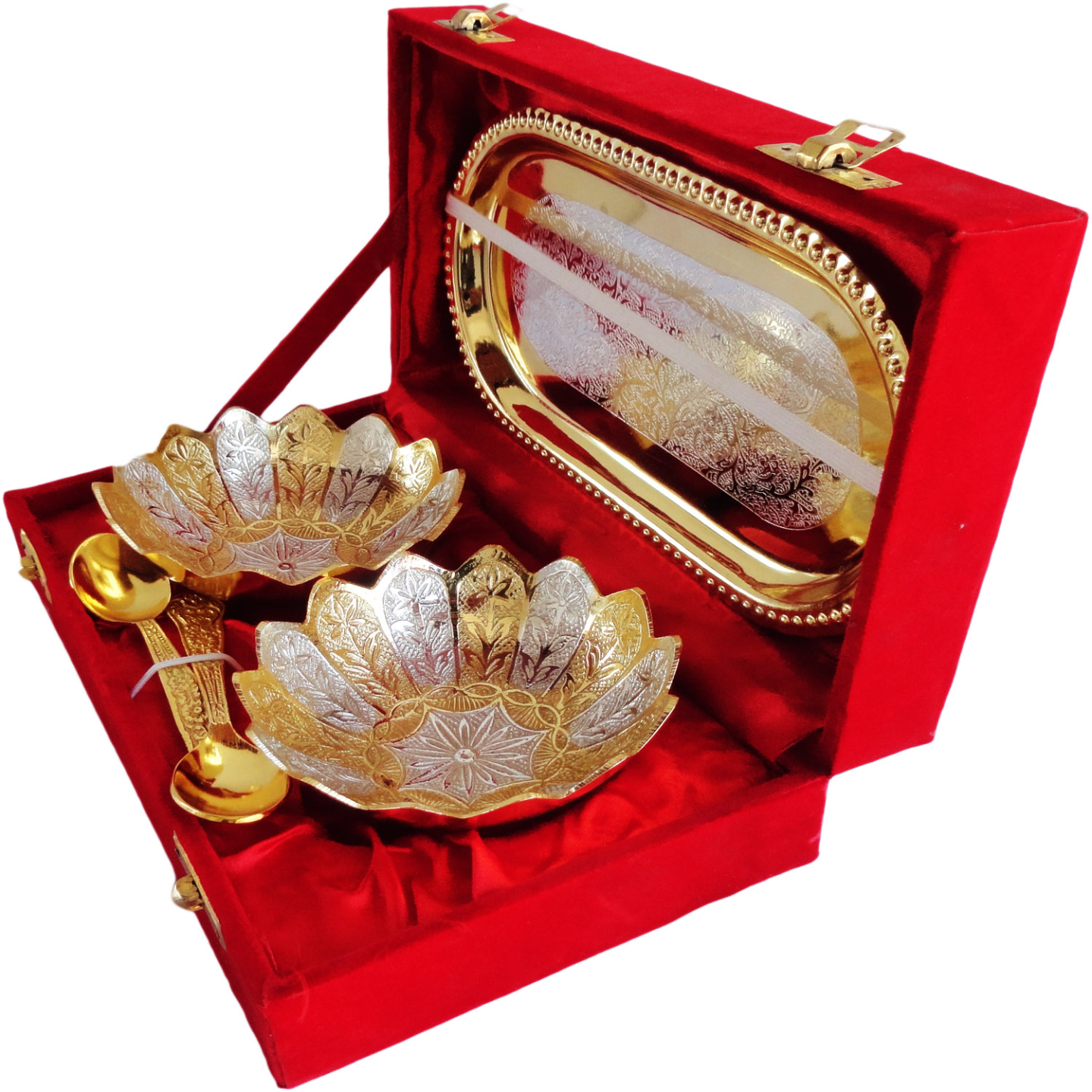 Brass Kamal Lotus Shape Gold and Silver Plated Two Bowl And Spoon Set  (B053 )