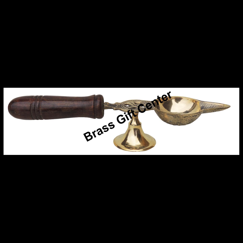 Brass Deepak With Wooden Handle - 9.4 Inch (F363 E)