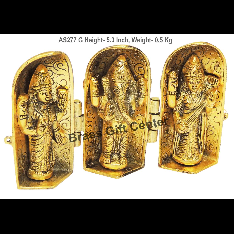Laxmi Ganesh Saraswati Folding - 8.5*1.5*5.3 Inch  (AS277 G)