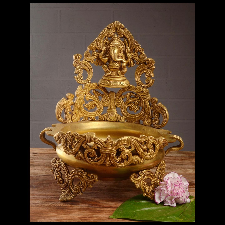 Floating candle pot Brass Metal made - Home Decor Lord Ganesha figure Urli BS1141 A