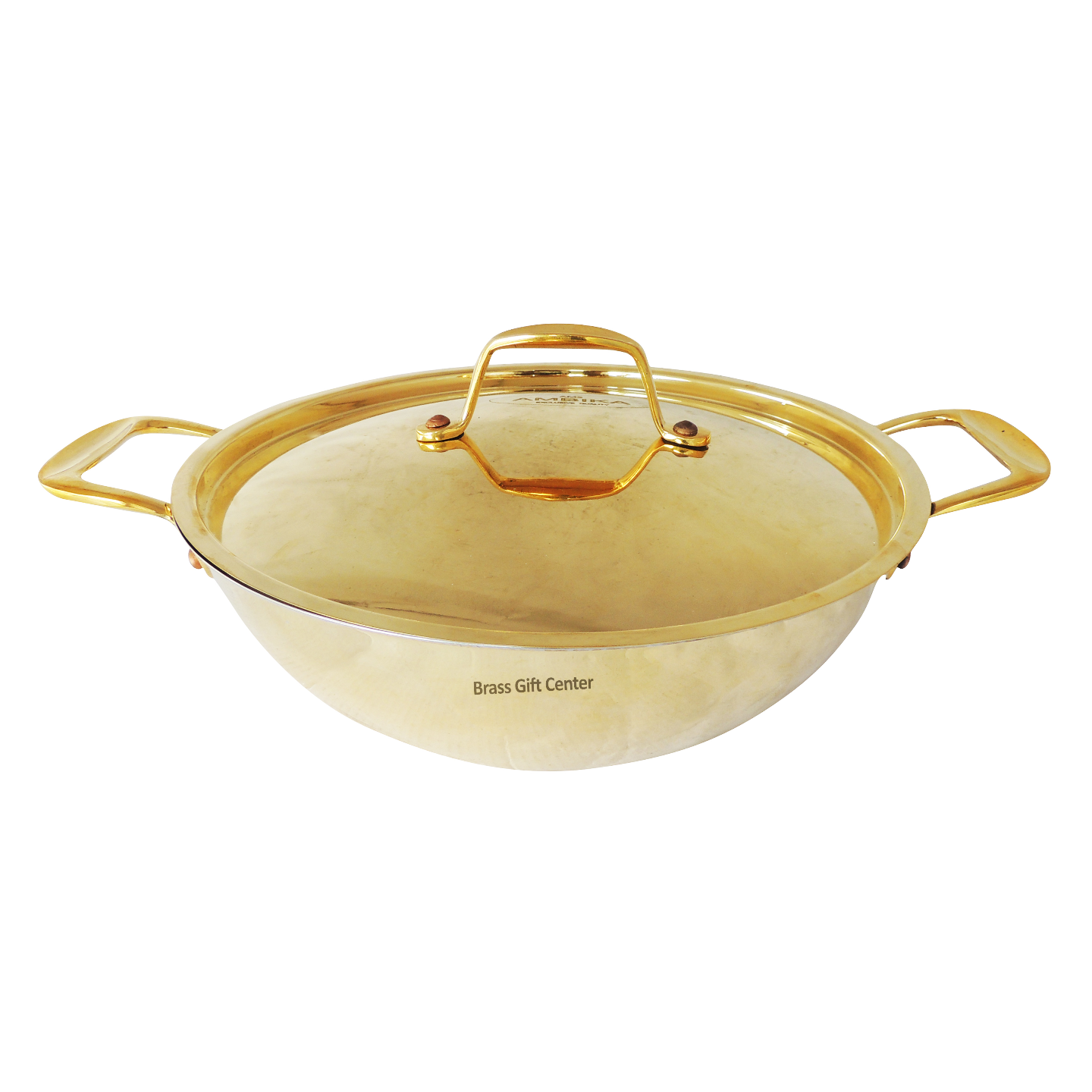 Brass Kadai With Cover No. 1, 13.7 Inch Z473 A