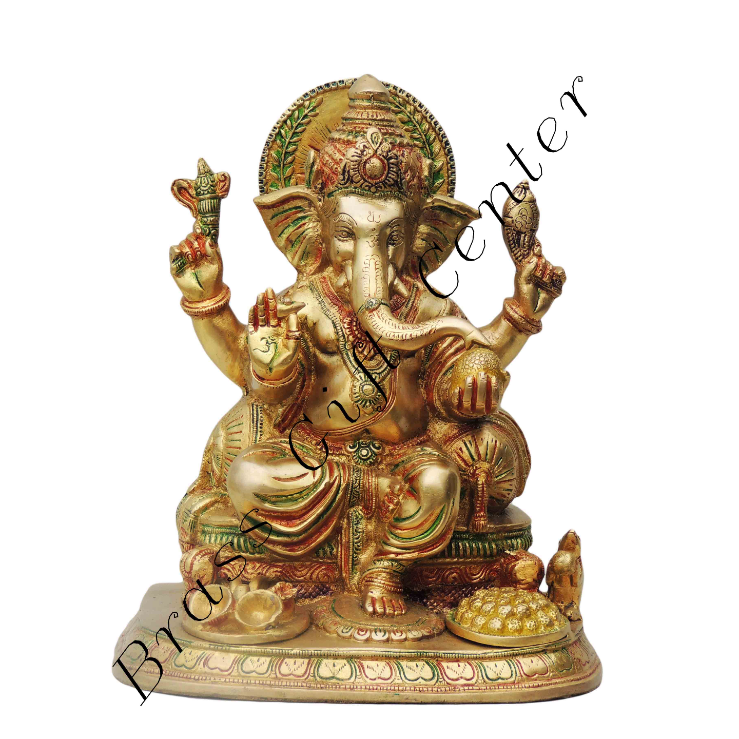 Brass Ganesh Statue In Multicolour Lacquer Finish - 10.57.212.8 Inch  BS475