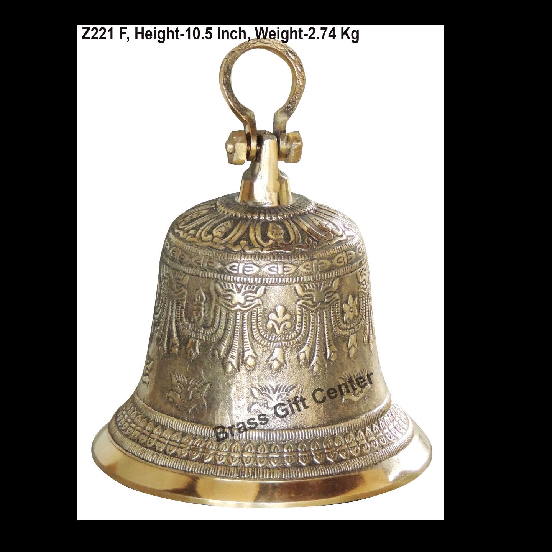 Brass Ganta Bell Temple Bell Embose - 7.5*7.5*10.5 Inch  (Z221 F)